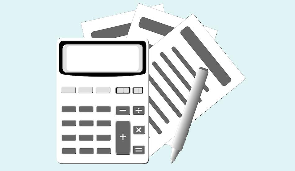 Dekorativna slika na kojoj su grafički prikazani kalkulator, olovka i obrasci