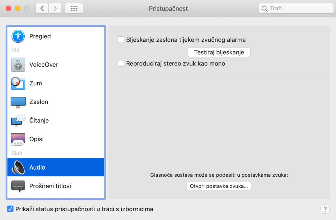 Postavke pristupačnosti iMac modul Audio