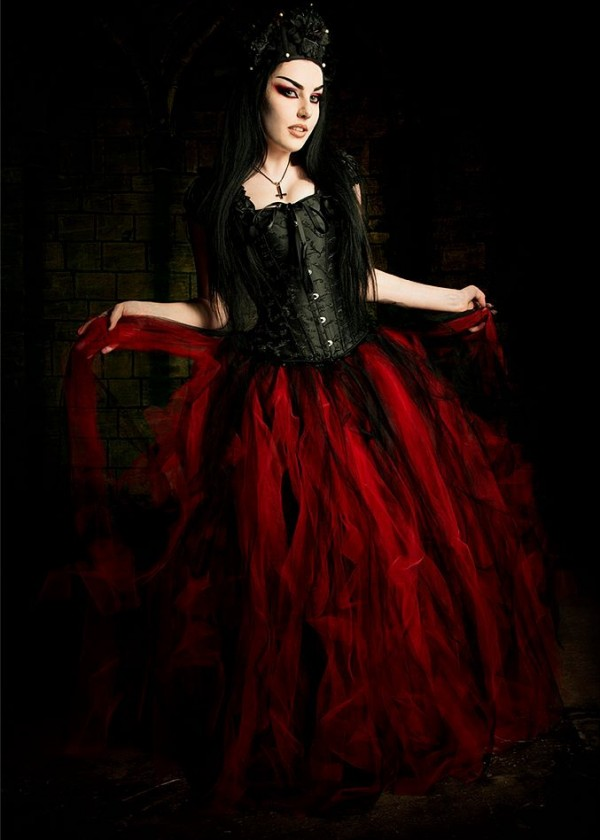 Black Red Long Gothic Prom Dress D1033  DRoseBlooming