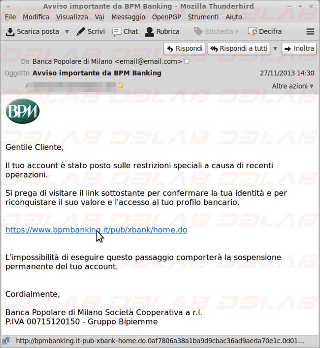 Phishing Banca Popolare Di Milano D3lab