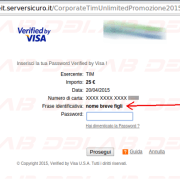 pagina web fraudolenta per catturare password secure code