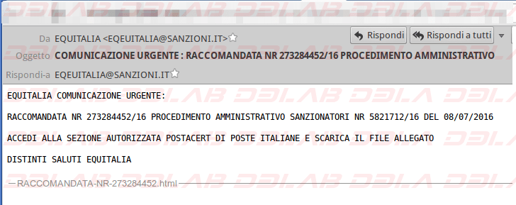 Mail di phishing Equitalia