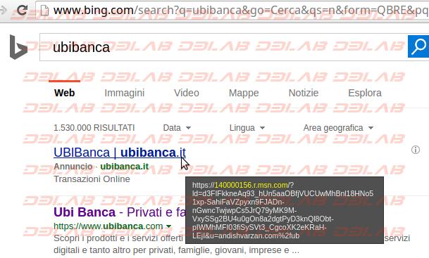 annuncio pubblicitario truffa su Bing