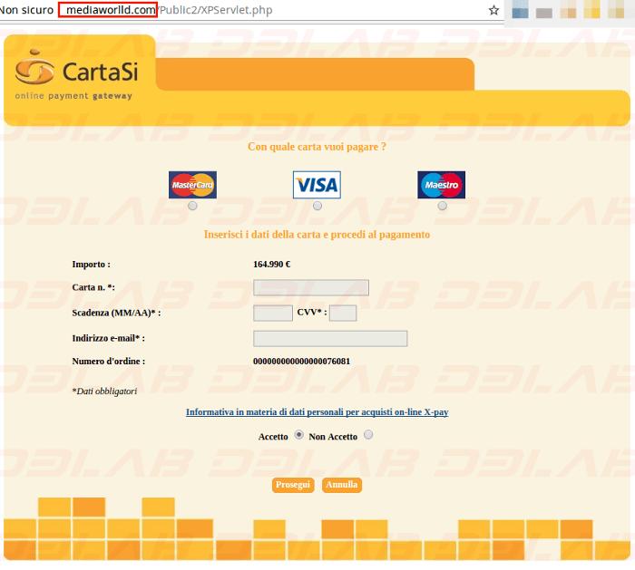 richiesta dati carta di credito