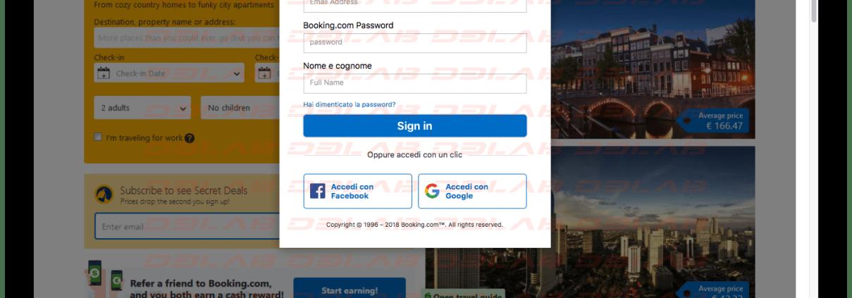 Booking.com prima pagina clone