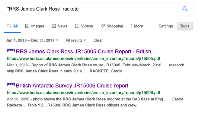 "dork ""RRS James Clark Ross"" rackete"