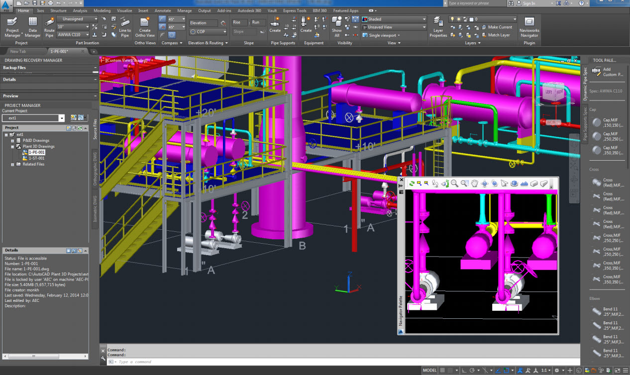 hight resolution of piping autocad electrical plant design rendering