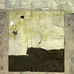 Abstract color photograph featuring black, beige, cream, yellow, gold, green, brown and white.