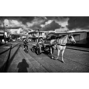 A young cyclist gets a little horse power in Líbano, Colombia.