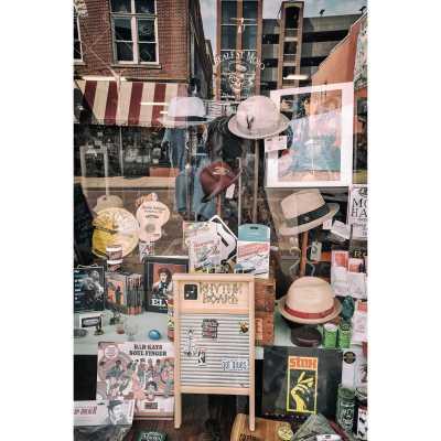 Shop window on Beale Street in Memphis, Tennessee.