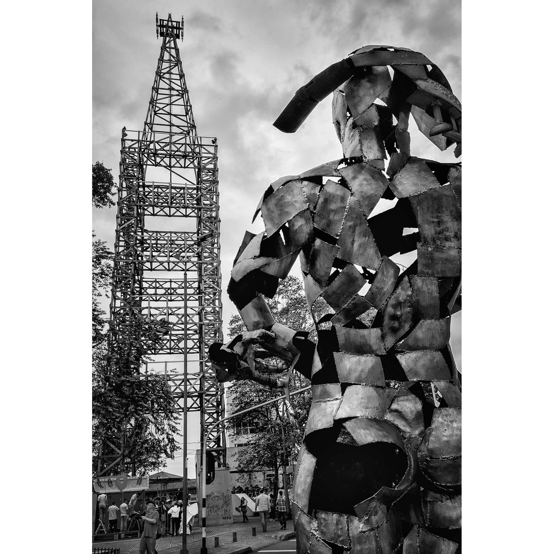 An abstract sculpture towers over the street at Cable Plaza in Manizales, Colombia.