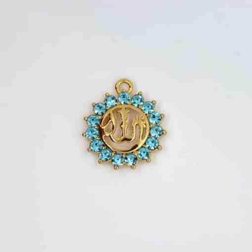 religion Allah sonne gold blau strasssteine 20x20mm