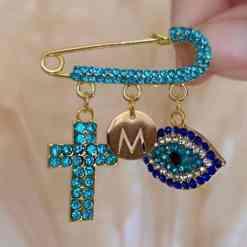 Mini Strassnadel mit Kreuz blau 2
