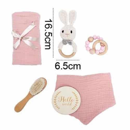 babygeschenk set hase rosa masse