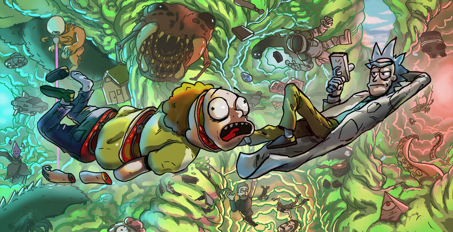 Falling Down A Portal Wallpaper Rick And Morty Contest Semi Finalists By Madizzlee On