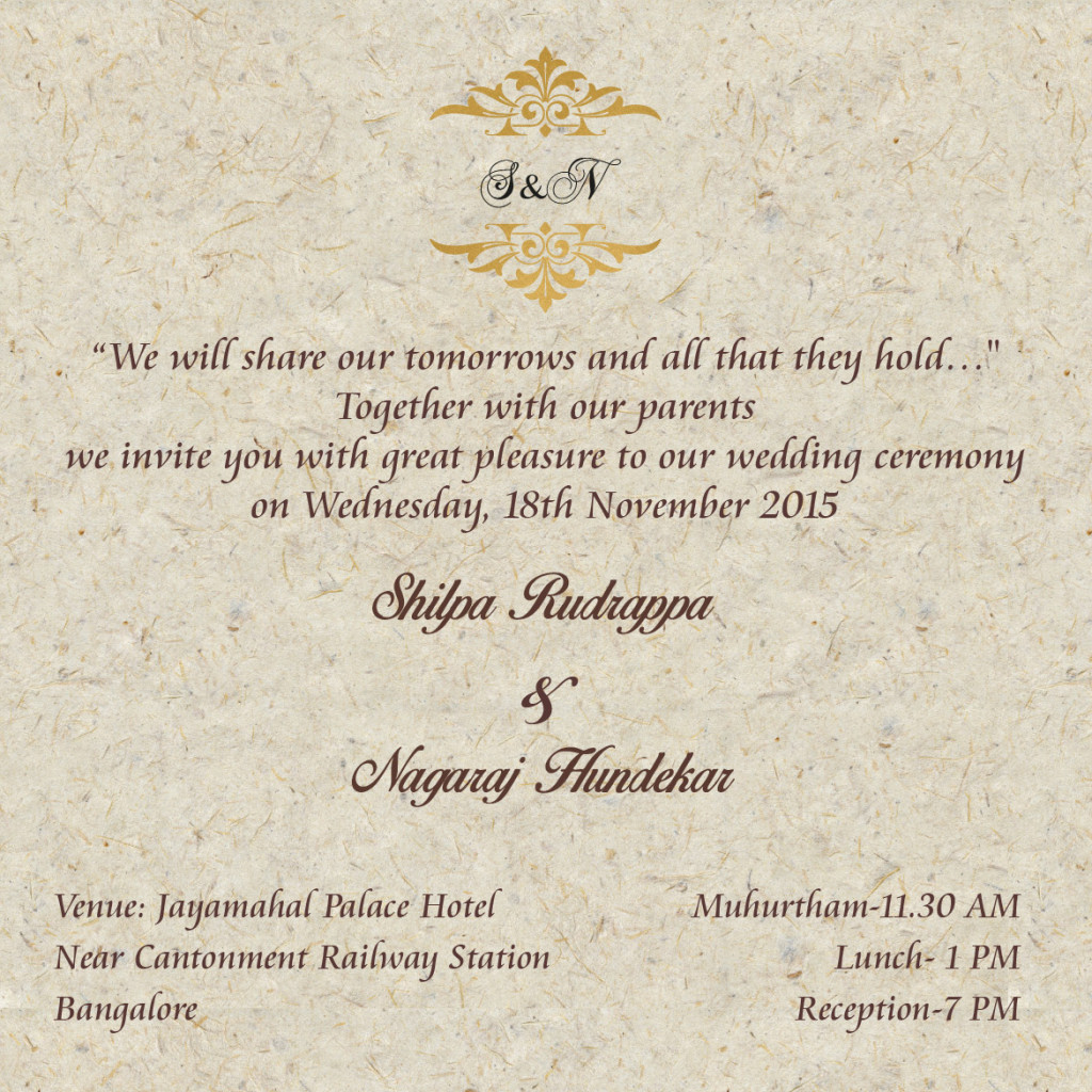 Shilpa's Wedding Invitation