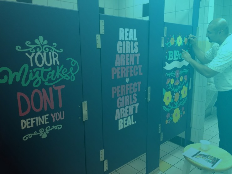 Teachers Decorate School Bathrooms With Inspiring Messages To Bring Stunning Bathroom Dividers Decoration