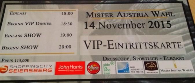 VIP-Eintrittskarte Mister Austria Wahlen 2015