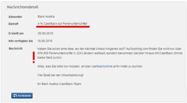 Bank Austria und Booking.com