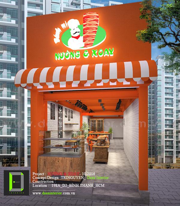Mặt tiền Nhà hàng Nướng và Xoay - 198A Đường D2, Q. Bình Thạnh