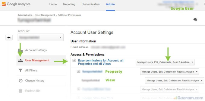 Google Analytics user settings
