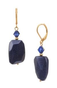 Navy Blue Goldstone Drop Earrings: Dark Blue & Gold Earrings