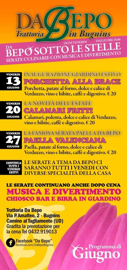 Flyer A5 Bepo Giugno B 482x1024 Sotto Le Stelle, ogni venerdì sera nel giardino estivo (Programma Giugno)