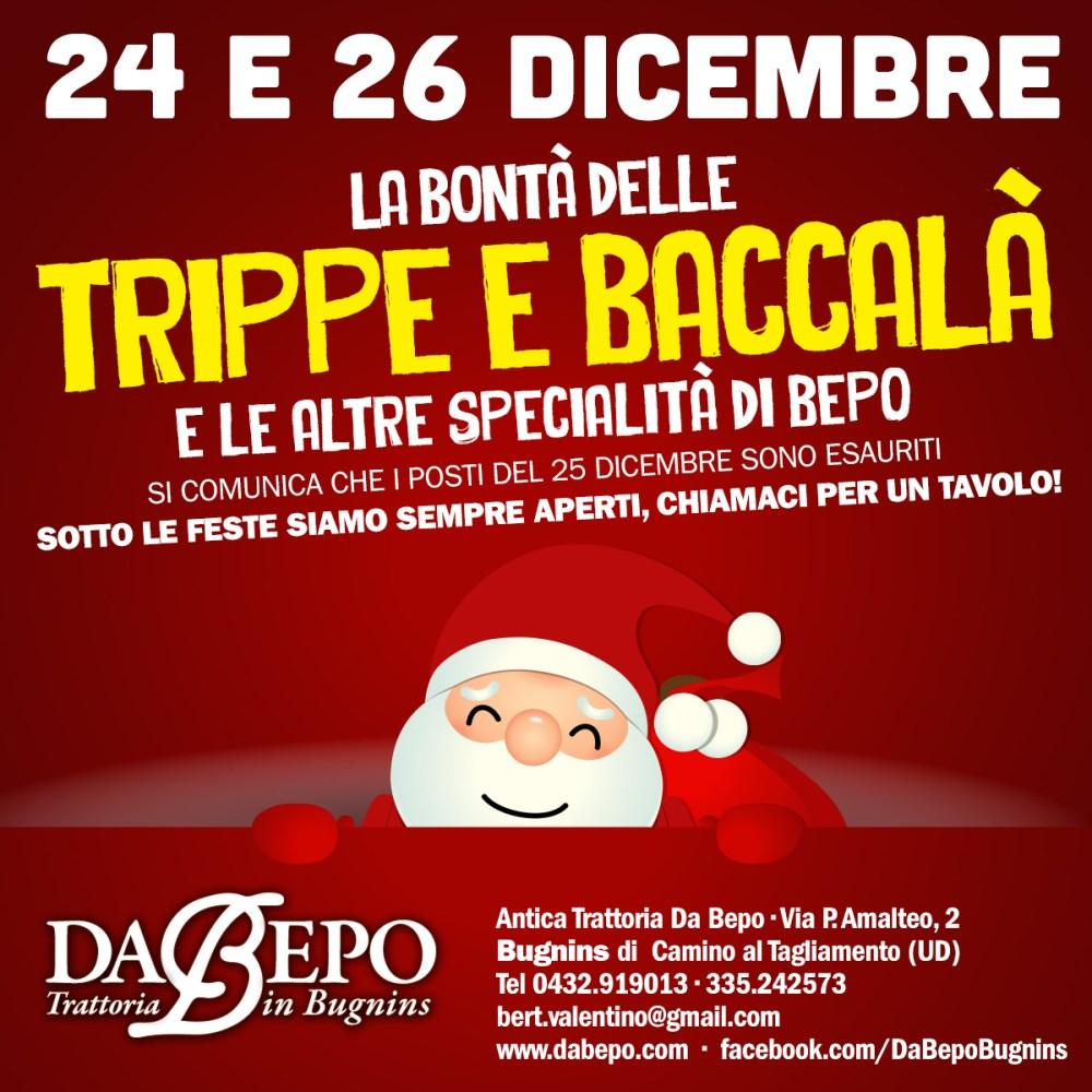 Natale Bepo 1024x1024 24 e 26 dicembre: Trippe e baccalà