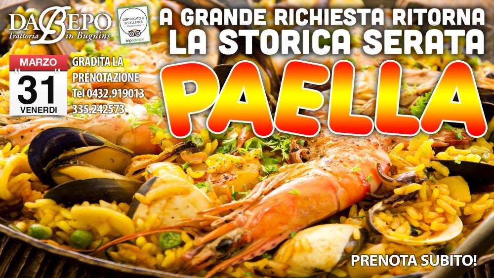 Paella 1024x576 31.03.2017   Grande serata Paella alla trattoria Da Bepo