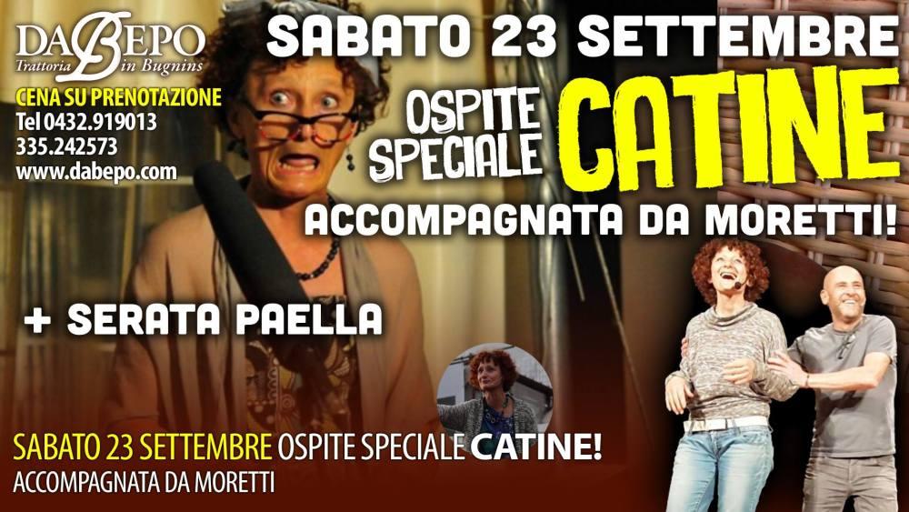 21544041 1452047661515140 4707454415222956387 o 1024x576 23 Settembre 2017: Spettacolo di Catine e Moretti, serata Paella Trattoria Da Bepo