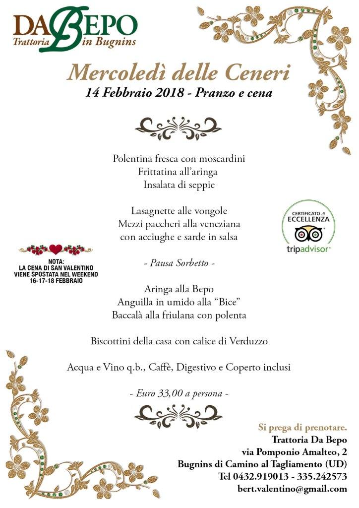 Ceneri Da Bepo 2018 724x1024 Mercoledì delle Ceneri   14 Febbraio 2018   Pranzo e cena