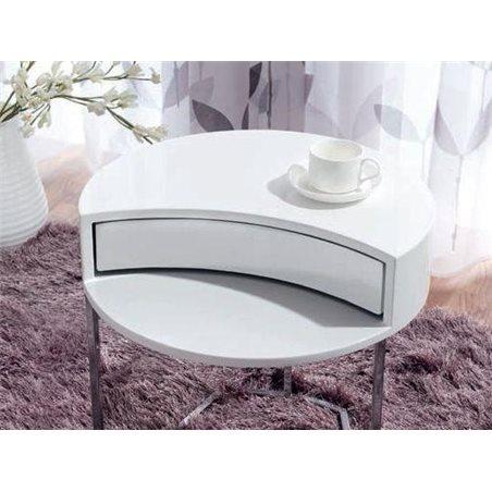 table d appoint ronde blanc avec tiroir rotatif 50 cm