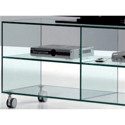 meuble tv en verre a roulettes kolet 125 cm