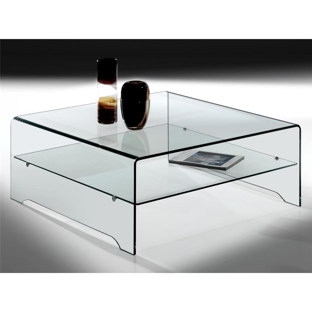 transparent curved glass coffee table with shelf amarina 100 cm