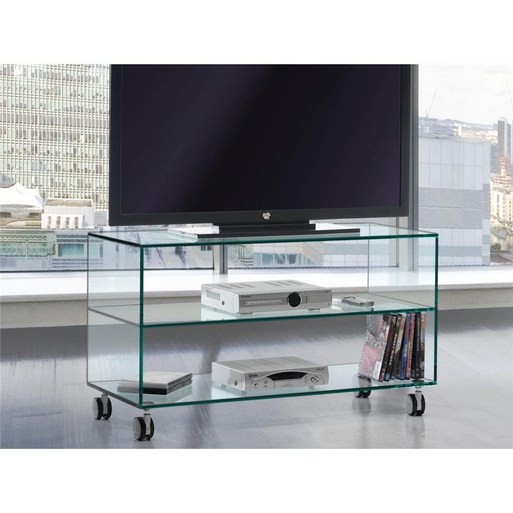 meuble tv en verre a roulettes kolet 90 cm