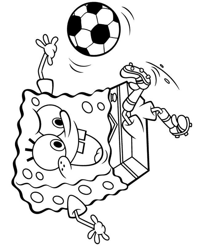 Colorare Calcio, disegno Bob la spugna ama il calcio