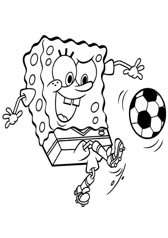 Colorare Calcio, disegno Bob la spugna con pantaloni quadrati