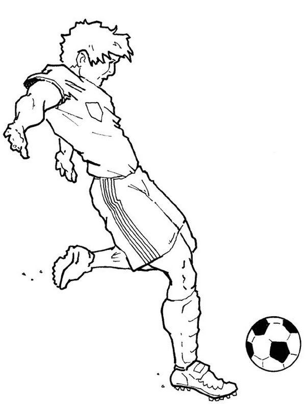 Colorare Calcio, disegno Un giocatore del calcio