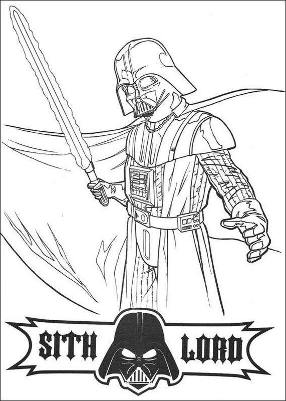 Colorare Star wars, disegno La spada laser di Dart Fener