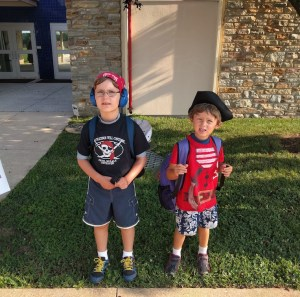 The Monster and R dressed for Pirate Day at camp, August 2017