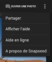Snapseed menu