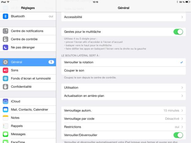 Reglages iPad