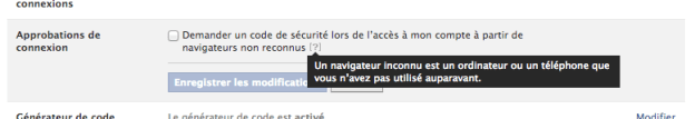 activation validation deux étapes Facebook