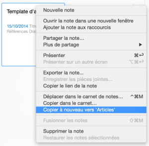 Capture de la copie de note sous Evernote.