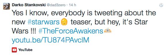 Tweet avec hashtags moins officiels