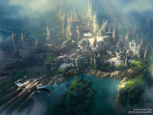 Concept Art du Land Star Wars dans les parcs Disney.
