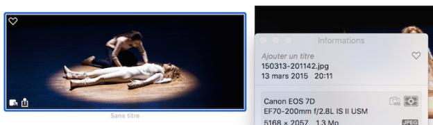 Les informations de la photo contiennent des métadonnées de la photo dont la date de la prise de vue.