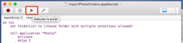 Exécutez l'AppleScript avec le bouton de la barre d'outils.
