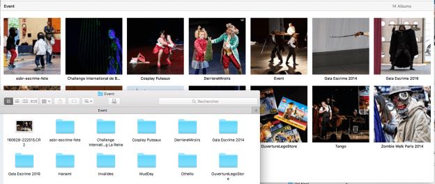 Nous souhaitons retrouver nos répertoires du Finder en tant qu'albums dans Photos.