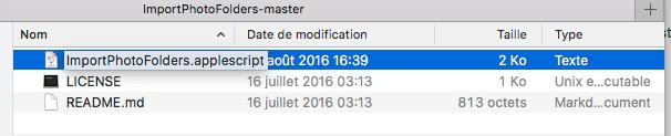 Dans le répertoire créé, vous devrez double-clicker sur le fichier ImportPhotoFolders.